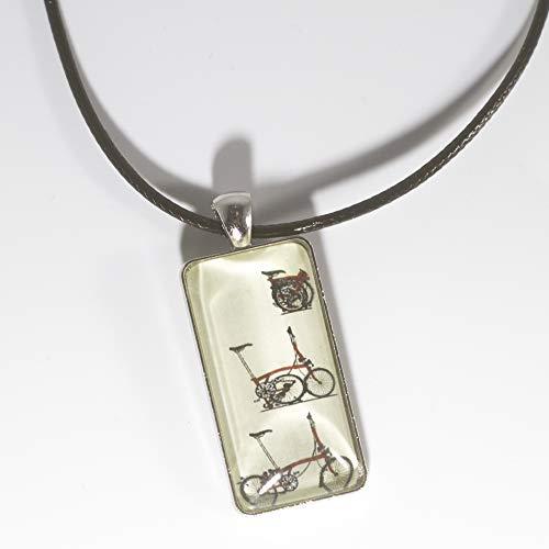 LONDON CRAFTWORK Unisex Halskette Schmuck mit Brompton Klapprad Logo rot
