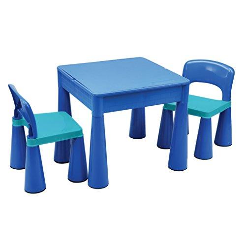 Liberty House Toys 5 in 1 multifunctionele tafel & 2 stoelen blauw, plastic, 51,0 x 51,0 x 46,5 cm