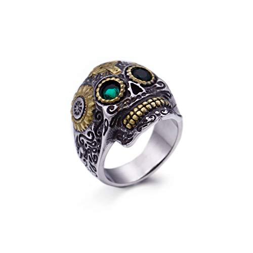 FJ Titan Stahl Schädel Ring Barock Vintage 3D Schmuck mit Smaragd erstellt