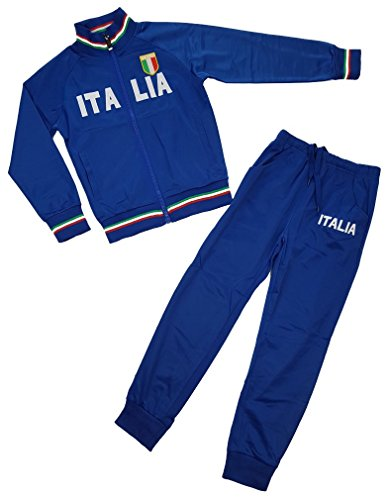 Sports Jungen Trainingsanzug Italia, in Blau, Gr. 104, JF6011.4