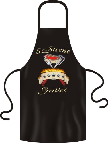 Rahmenlos No-Compromise Tablier de barbecue avec inscription en allemand 5 Sterne Griller ca. 70 x 100 cm