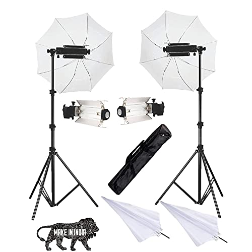 Boltove Porta Kit with Pair of 9 feet Light Stands, Porta Lights, Umbrellas for Video & Still Photography Lighting