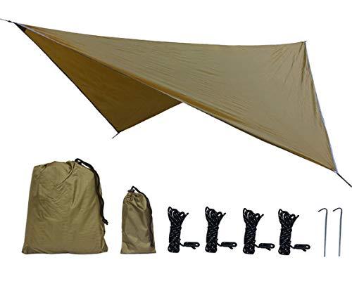 Uong Zeltplane Camping Zelt Tarp, 2.35x2.35m PU2000mm Wasserdicht Hängematte Tarp Regen Fliegen 230 * 230cm mit 2 Aluminiumpfähle + 4 Seilen, Leichte Tragbare für Camping(Kamel)
