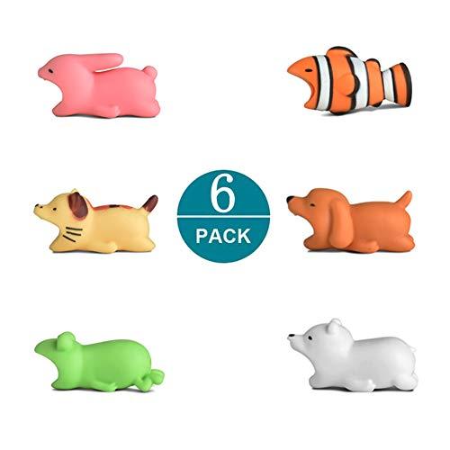 Newseego Kompatibel iPhone Kabel Schutz, Ladegerät Saver Kabel Chevers Kabel Niedlich Tier Biss Kabel Zubehör Schützt - 6 Pack (Weißer Bär, H&, Kaninchen, Frosch, Katze, Clownfish)