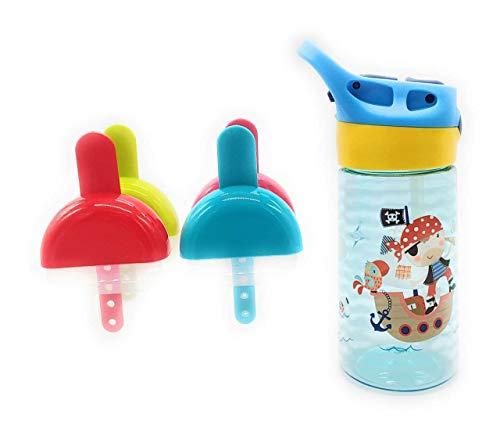 ♽ SET 2 in 1 Borraccia Bambini Senza Perdita con Cannuccia, Senza BPA + Stampi ghiaccioli ➤ Contenitore per Gelato Termos da Viaggio (Bambino + Stampi Ghiacciolo)