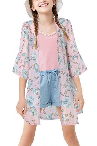 Gorlya Kimono-Umhang für Mädchen mit Blumenmuster, Chiffon, Strandjacke -  Pink -  Klein