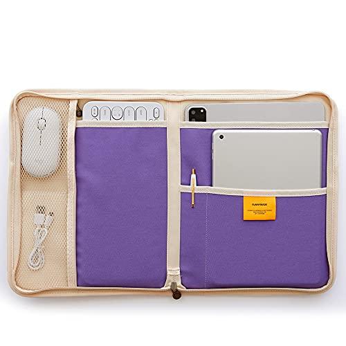 Funnymade iPAD X KEYBOARD POUCH インナーケース PCケース 持ち運び 撥水 仕切り かわいい おしゃれ タブレットバッグ iPad 11インチ 12インチ アイパッド タブレットケース (ツインクルラベンダー)