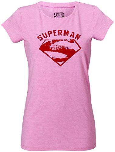 GOZOO Superman T-Shirt Damen Vintage Flock 100% Baumwolle Rosa M