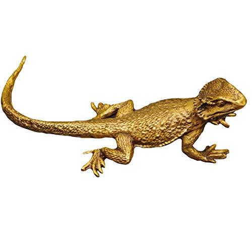 Lagarto Estatuas Arteesanía,Bronce Arte Esculturas Iguana Decoración Al Aire Libre Reptil Figura Realista Acentos para Jardín Yarda Estudio Pared Colgante Bronce 19x5cm(7x2inch)