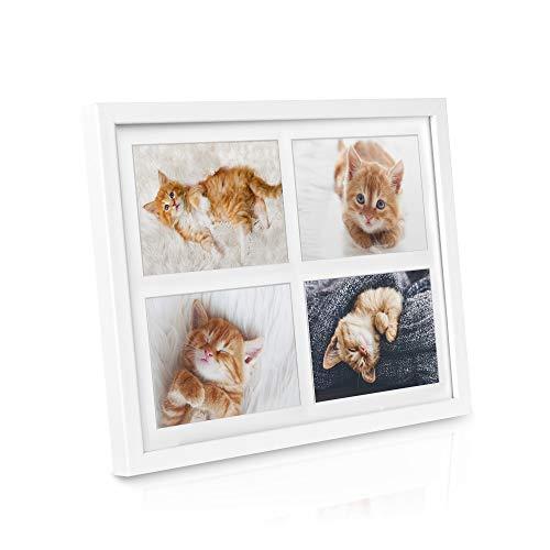 bomoe Bilderrahmen Galeria für 4 Fotos 10x15cm Fotorahmen aus Holz, Kunststoffglas, Metall-Aufhängung & Passepartout Multirahmen für Bilder Collagen - Weiß
