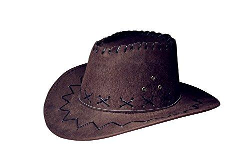 Miobo Cowboyhut Westernhut Cowgirl australien Texas Cowboy Hut Hüte Western für Erwachsene und Kinder (One Size, Schwarzbraun für Kinder)