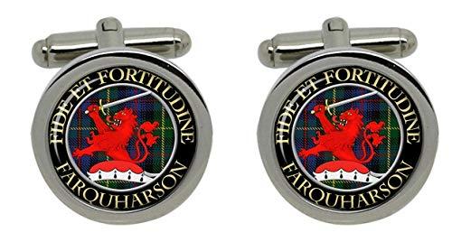 Farquharson Clan écossais pour homme Écusson Chrome Boutons de manchette avec coffret cadeau
