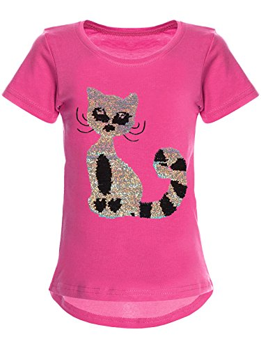 BEZLIT Mädchen Wende-Pailletten T-Shirt Katzen-Motiv Kurz-Arm 22590 Pink Größe 104