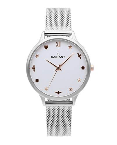 Reloj analógico para Mujer de Radiant. Colección Grace. Reloj Plateado con Malla milanesa y Esfera en Blanco con índices de Motivos en rosé. 3ATM. 38mm. Referencia RA489601.