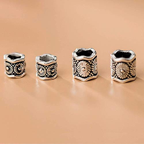 S925 Thai Silver 5 6Mm Pattern Bucket Beads Spacer Loose Beads Feng Shui Charms for Bracelets DIY Crafting Jewelry Making Bulk Attract Money Accessories Necklaces for Good Luck Wealth,6mm Kitchen & H