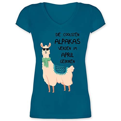Geburtstag - Die coolsten Alpakas Werden im April geboren Sonnenbrille - S - Türkis - Shirt türkis Damen - XO1525 - Damen T-Shirt mit V-Ausschnitt