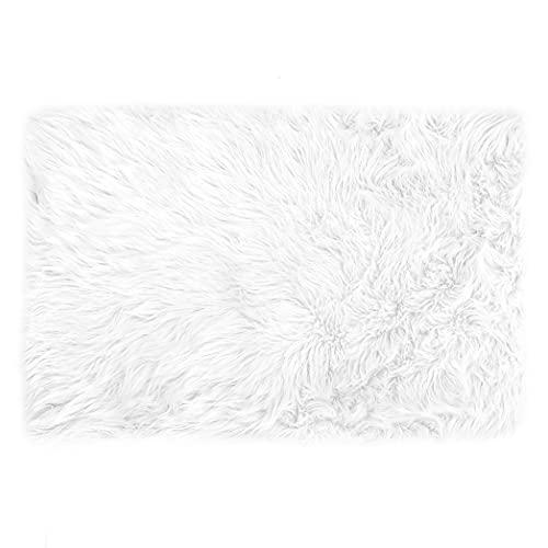 Teppich Wölkchen Alfombra Sintética Imitación de Piel de Cordero o Oveja | Sala de Estar, Guardería | Alfombrilla de Decoración para Silla, Taburete o Sillón | Blanco - 40 x 60 cm - Rectangular
