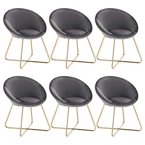 WOLTU 6 x Esszimmerstühle 6er Set Esszimmerstuhl Küchenstuhl Polsterstuhl Design Stuhl, mit Sitzfläche aus Samt, Gestell aus Metall, Dunkelgrau, BH217dgr-6