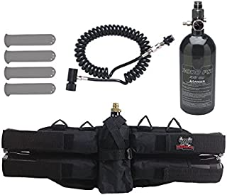 Maddog Sports 4+1 Paintball Harness w/Pods, 48/3000 HPA Tank & Standard Remote Coil