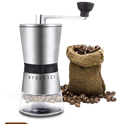 YWT Manual Coffee Grinder, Tapered Ceramic Burr, Portable Hand Crank Grinder, Adjustable Setting, Quiet and Portable, Stainless Steel
