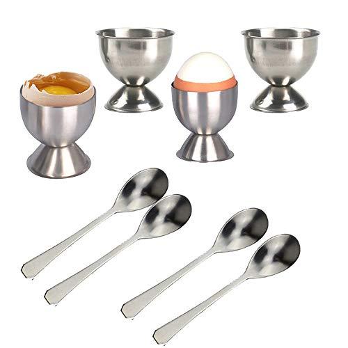 Huevos Taza, Juego de Huevera de Acero Inoxidable con 4 Piezas Hueveras y 4 Piezas Cuchara