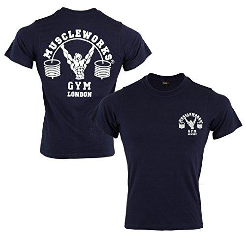 Muscle Works Herren-T-Shirt, Marineblau xl blau