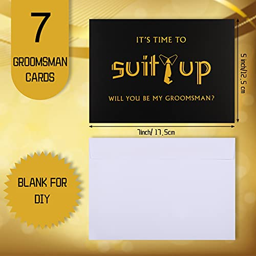 8 Pieces Groomsmen Proposal Cards 7 Pieces Will You Be My Groomsman Funny Cards and 1 Piece Will You Be My Best Man Card with Envelopes for Wedding Supplies, 5 x 7 Inch Photo #3