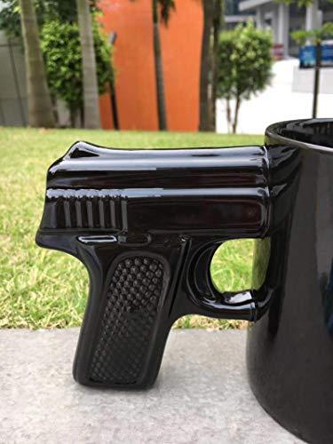 LTE Taza de café con Mango de Pistola, Taza de cerámica Negra, Negro
