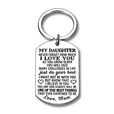 Inspirational Gifts to My Daughter Keychain from Mom Never Forget How Much I Love You for Teen Girl Birthday Graduation Christmas Mothers Day Gift For Teenage Girls Adult Step Daughter Keyring