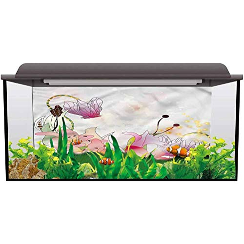 bybyhome Aquarium Fish Tank Background Poster Floral,Lily Blossoms in Soft Tones Fish Tank Backdrop PVC Adhesive L24 X H16 Inch