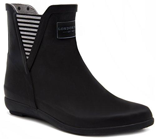 LONDON FOG Womens Piccadilly Rain Boot black matt 8 M US