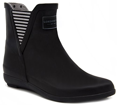 LONDON FOG Womens Piccadilly Rain Boot Black 8 M US