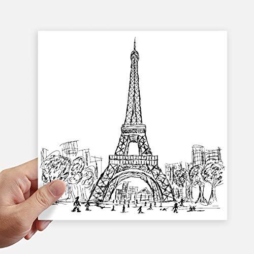 DIYthinker Eiffel Tower Square France Paris Square Stickers 20Cm Wall Suitcase Laptop Motobike Decal 4Pcs