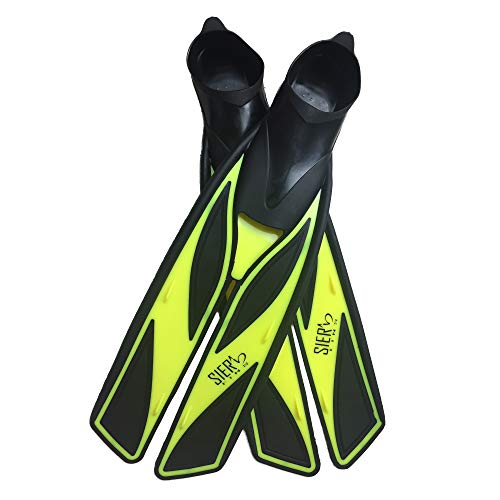 Split Snorkel Fins, Full Foot Diving Fins and Scuba Flippers Fins, Includes Mesh Bag (Yellow, M EUR 39-40 US Men 6-7 Women 7-8)