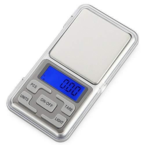 AeeYui Báscula Digital Mini portátil 500 g-0,01 g, báscula Digital de Bolsillo, báscula Digital de precisión, báscula para Joyas, Plata
