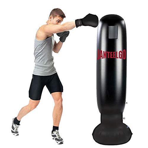 JanTeelGO Boxsack Kinder, Boxsack 160CM, Standboxsack Boxsack Stehend Aufblasbare Boxsäule Tumbler Kinder/Erwachsene Fitness Dekompression Sandsäcke Kick Kampftraining (Schwarz-D)