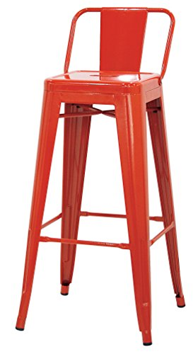 Brianza Outlet Metal High kruk in industriële look, metaal, rood, 30 x 30 x 76 cm
