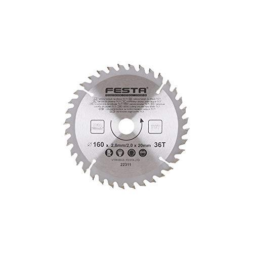FESTA - Hoja de sierra circular para madera TCT 160 mm/2. 8/20/36.