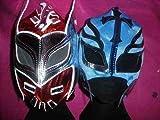 SOPHZZZZ TOY SHOP Sin Cara Rojo y Rey Misterio (Color Will Change) Máscara Pack Juego Lucha Libre WWE Disfraz Traje con Cremallera 2013 Tag Team Disfraz Ray Mistico Misterio Infantil