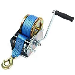 FreeTec hand cable winch Cable winch with blue polyester cable Recovery salvage winch Boat winch Hand winch winch (10m 2500lbs)