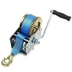 FreeTec Handseilwinde Seilwinde mit Blau Polyester Seilzug Bergungswinde Bootswinde Handwinde Winde (10m 2500lbs)