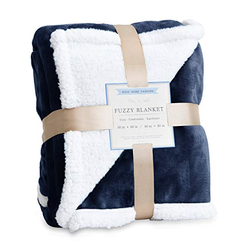 Rose Home Fashion Throw Blanket, Fleece Blanket, Fuzzy Blanket, Sherpa Blanket, Soft Blanket, Sherpa Blanket, Throw Blanket for Bed, Gifts for Women, Sherpa Blanket(50' X 60' Throw, Navy Blue)