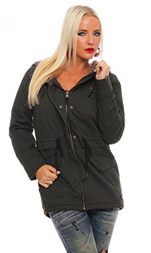 ONLY Damen onlLEEONA Canvas Parka Jacket CC OTW Jacke, Blau (Blue Graphite), 38 (Herstellergröße: M)