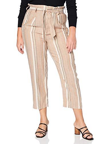 Herrlicher Damen Comfy Multi Stripes Lurex Linen Hose, Braun (Umbra 171), W(Herstellergröße: 29)