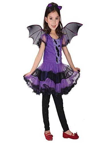 Costume da Strega per Halloween da Bambina Bimba Vestito Carnevale Cosplay Costume Outfit Abbigliamento Neonate Abiti di Halloween Abito in Maschera Abiti da Festa + Cappello (5-7 Anni, Purple #)