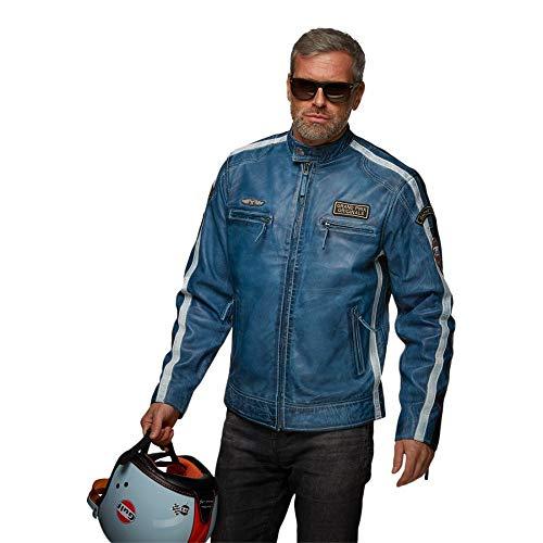 Grandprix Originals Classic Gulf Race Leather Jacket Blue S