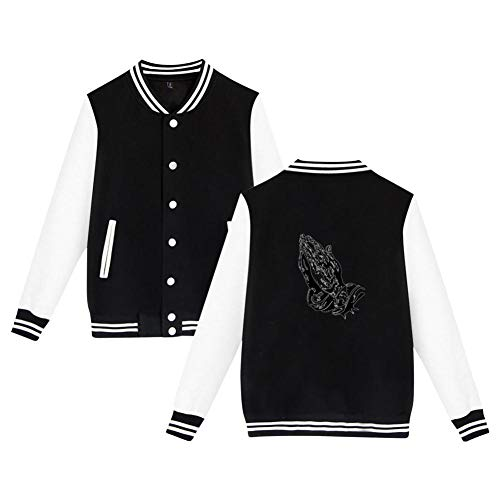 Praying Hands Men's Long Sleeve Plus Velvet Baseball Jacket Uniform Sports Jacket Black L