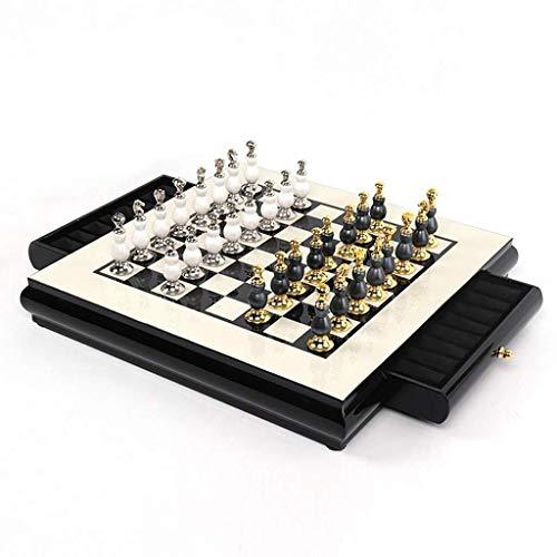Juego de ajedrez, Juego de Tablero de ajedrez de Madera Tournament Staunton con Pieza de ajedrez Hecha a Mano y Ranuras de Almacenamiento para niños y Adultos (Ejercicio de Pensamiento Intelectual)