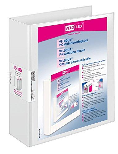 Veloflex 4139190 Präsentations-Ringbuch Velodur, DIN A4, 4-Ring-Mechanik, 295 x 315 x 70, mit Außentaschen,weiß
