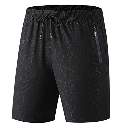 Talla Grande 7XL 8XL Hombres Verano Pantalones Cortos Casuales Outwear Transpirable elástico Tablero Pantalones Cortos de Playa 5522-Black 7XL